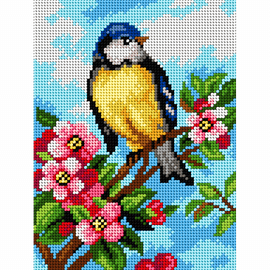 Printed Blue Tit Needlepoint Kit by Orchidea