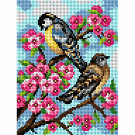 Printed Blue Tit and Friend Needlepoint Kit By Orchidea