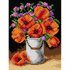 Printed Poppies Needlepoint kit by Orchidea