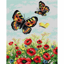Printed Butterflies on the Meadow  Needlepoint By Orchidea