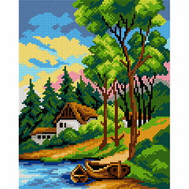 Printed Landscape with Boats Needlepoint By Orchidea