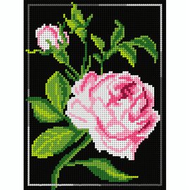Printed Rose on Black Needlepoint Kit by Orchidea