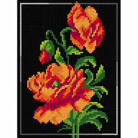 Printed Poppies on Black Needlepoint Kit By Orchidea