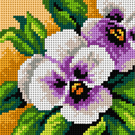 Printed Pansies Needlepoint kit by Orchidea