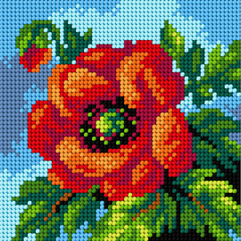 Printed Poppy Needlepoint Kit by Orchidea