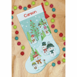 Snowman Family Stocking Counted Cross Stitch Kit by Dimensions
