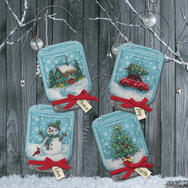 Christmas Jar Ornaments Counted Cross Stitch Kit by Dimensions