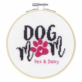 Dog Mom Counted Cross Stitch Kit with Hoop by Dimensions