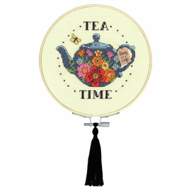 Tea Time Counted Cross Stitch Kit with Hoop by Dimensions