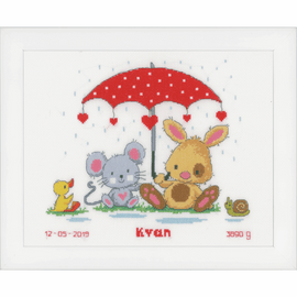 Under the Umbrella Birth Record Counted Cross Stitch Kit By Vervaco
