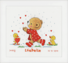 Bear & Hearts Birth Record Counted Cross Stitch Kit By Vervaco