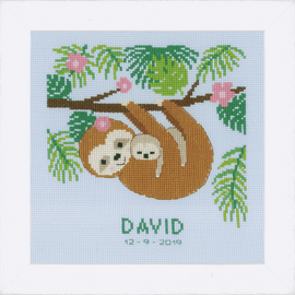 Sweet Sloth Counted Cross Stitch Kit By Vervaco