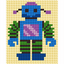 My First Embroidery Needlepoint Kit Robot by Orchidea