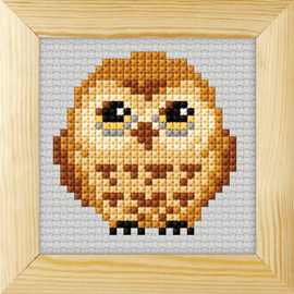 Counted Cross Stitch Kit with Frame Owl by Orchidea (9cm)