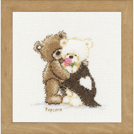 Popcorn Hugging Counted Cross Stitch Kit by Vervaco