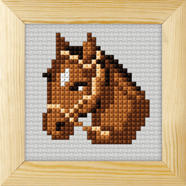 Counted Cross Stitch Kit with Frame Horse by Orchidea (9cm)