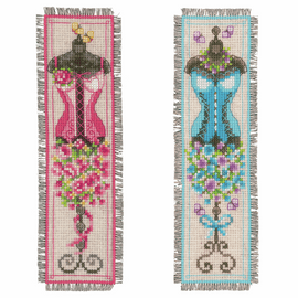 Vintage Mannequins Counted Cross Stitch Bookmark Kit  (Set of 2)
