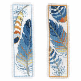 Blue Feathers Counted Cross Stitch Bookmark Kit Set of 2