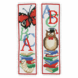 Owl & Worm Counted Cross Stitch Bookmarks Kit Set of 2