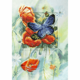 Butterfly and Poppies Counted Cross Stitch Kit by Orchidea