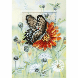Butterfly and Gerbera Greetings Card Counted Cross Stitch Kit by Orchidea