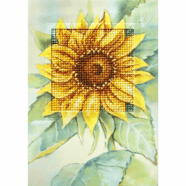 Sunflower Greetings Card Counted Cross Stitch Kit by Orchidea