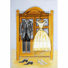 Just Married Counted Cross Stitch Greetings Card Kit by Orchidea