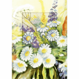 Daisies Greeting Card Cross Stich Kit by Orchidea