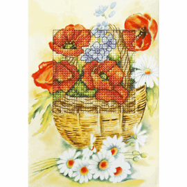 Poppies and Daisies Greeting Cards Cross Stitch Kit By Orchidea