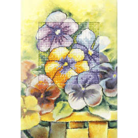 Pansies Greeting Card Cross Stitch Kit by Orchidea