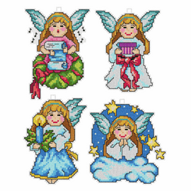 Christmas Angels Set of 4 Cross stitch Kits By Orchidea