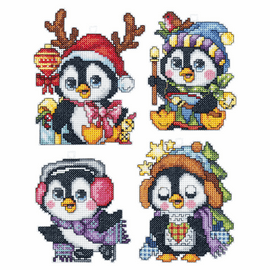 Penguins Set of 4 Counted Cross Stitch Kit By Orchidea