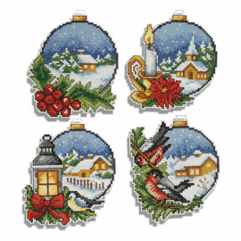 Christmas Balls Set of 4 Counted Cross Stitch Kit By Orchidea
