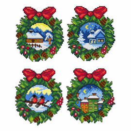 Christmas Wreaths Set of 4 Counted Cross Stitch Kit By Orchidea