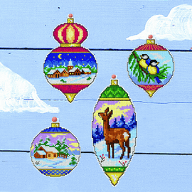 Christmas Baubles Set of 4 Counted cross stitch By  Orchidea