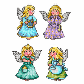 Angels Set of 4 Cross stitch Kits By Orchidea
