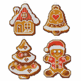 Ginger cakes counted Cross stitch Set of 4 by Orchidea