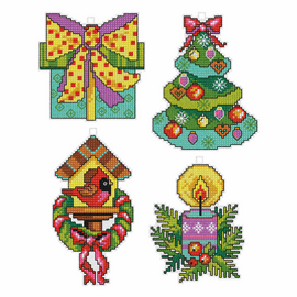Christmas Motifs counted Cross stitch Set of 4 by Orchidea