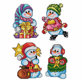 Happy Snowman Tree Decorations counted Cross stitch Set of 4 by Orchidea
