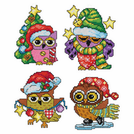 Owl Tree Decorations counted Cross stitch Set of 4 by Orchidea