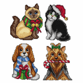 Christmas Pets Tree Decorations counted Cross stitch Set of 4 by Orchidea