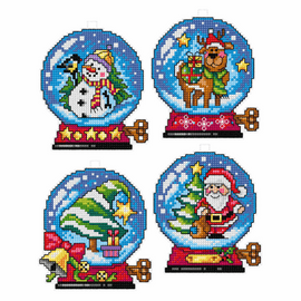 Christmas Ornaments Tree Decorations counted Cross stitch Set of 4 by Orchidea