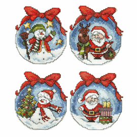 Christmas Balls Tree Decorations counted Cross stitch Set of 4 by Orchidea