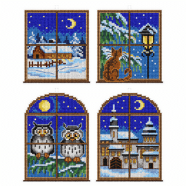 Winter Windows Tree decorations counted cross stitch set of 4 by Orchidea