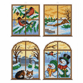Winter Windows 2 Tree decorations counted cross stitch set of 4 by Orchidea