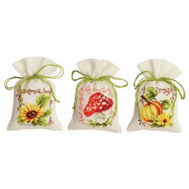 Autumn Times Pot-Pourri Bag Counted Cross Stitch Kit Set of 3