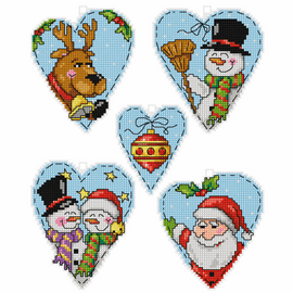 Christmas Motifs Tree decorations counted cross stitch set of 5 by Orchidea