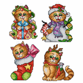 Cats Tree decorations counted cross stitch set of  4 by Orchidea