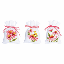 Echinacea & Butterflies II Counted Cross Stitch Pot-Pourri Bag Kit Set of 3
