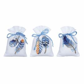Blue Feathers Pot-Pourri Bag Counted Cross Stitch Kit Set of 3